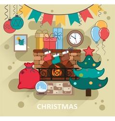 Christmas interior vector