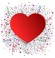 Confetti and red heart vector