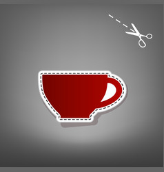 Cup sign red icon with for applique from vector