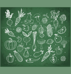 doodle fruits and vegetables on blackboard vector image