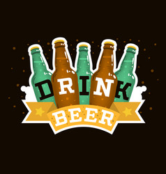 Drink beer motivational design with beer glass vector