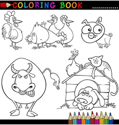 Farm Animals for Coloring Book or Page vector image
