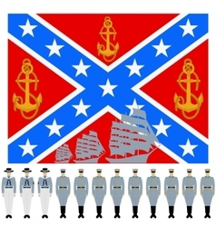 Flag and the linear part of the Confederation Navy vector image vector image