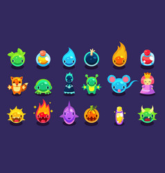 Flat assets for mobile game with funny vector