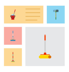 Flat icon cleaner set of cleaning cleaner sweep vector