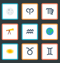 Flat icons space water bearer optics and other vector