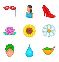 Flower perfume icons set cartoon style vector