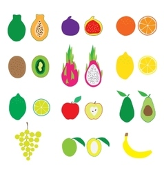 Fruits big set flat organic vector