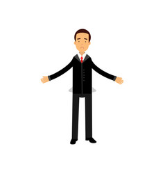 Frustrated businessman character showing empty vector
