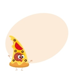 Funny slice of pizza fast food kids menu character vector