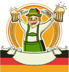 German man and glasses of beer oktoberfest estival vector image