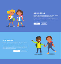 Girlfriends and best friends collection of banners vector