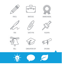 Graduation cap pencil and diploma icons vector
