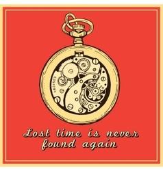 Hand drawn vintage watch clock sketch vector image