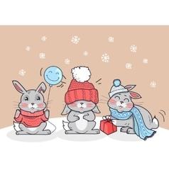 Happy winter cartoon friends three little rabbits vector