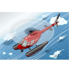 Isometric arctic emergency helicopter in flight in vector