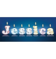 JESSICA written with burning candles vector image