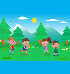 Kids playing with ball in the nature vector