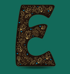 Letter e with golden floral decor vector
