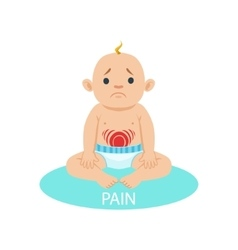 Little baby boy in nappy having belly pain part vector