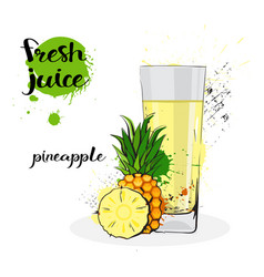 Pineapple juice fresh hand drawn watercolor fruits vector
