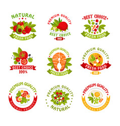 premium quality food logo templates set natural vector image vector image