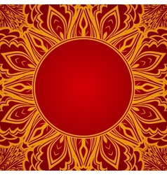 Red background with lace round ornament vector image