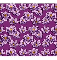 Seamless background flowers crocus vector