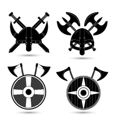 set of viking icons isolated on white vector image