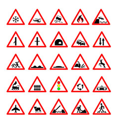 set road hazard warning signs road signs warn vector image