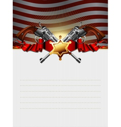 sheriff star with guns vector image vector image