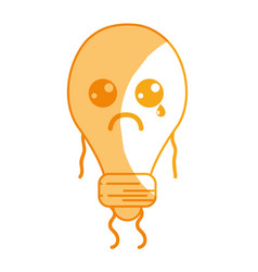 Silhouette kawaii cute crying bulb energy vector