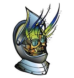 Skull in medieval helmet vector image