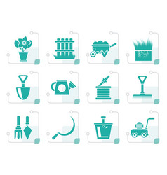 Stylized garden and gardening tools icons vector
