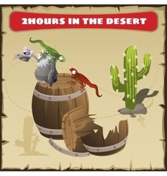 Two hours in the desert a funny scene vector