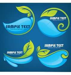 Water and leaves stickers and symbols on blue back vector