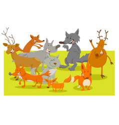 wild forest animal characters cartoon vector image vector image