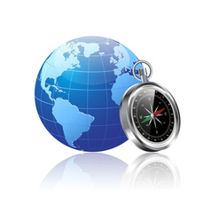 world and compass vector image vector image