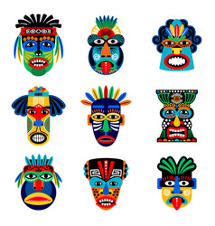 Zulu or aztec mask icons vector