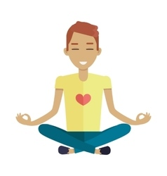 Young man making meditation in lotus pose vector