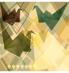 Origami paper birds geometric retro background vector image