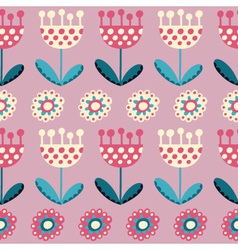 Seamless pattern with tulips on the pink backgroun vector