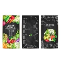 Vegetarian menu with vegetable dishes chalk sketch vector