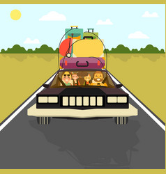 Happy family go on vacation by car with all their vector