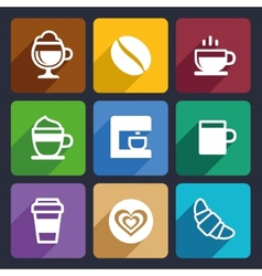Coffee flat icons set 44 vector