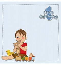 Little boy are playing with his toys vector