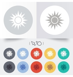 Sun sign icon solarium symbol heat button vector