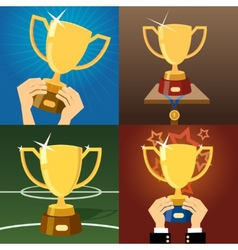 Set of four gold trophies or cups vector