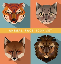 Animal face icon set vector