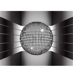 Silver disco ball on metallic 3d environment vector